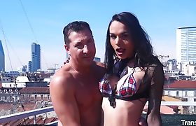 Hot hardcore ass fucking with naughty brunette Latina tranny Melissa Pozzi