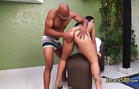 Black guy loves banging big tranny ass