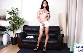 Asian tgirl beauty jerking off