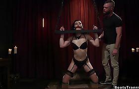 Master locks down hot brunette shemale