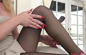 Blonde tranny in sexy hose getting fucked