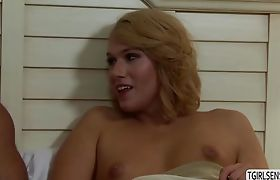 Shemale Aspen Brooks gets asshole pounded hard by a hunk stud