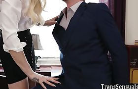 Trans blonde in office gets banged by shlong
