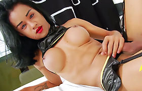 Cute asian tranny Emma playing with her pleasure stick