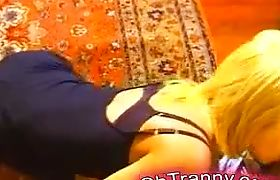 Hot tranny blonde sucking and licking