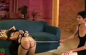 Horny Mandy Mitchell whipping tied up tgirl Ashley George