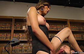 Tranny boss goddess anal fucks employee