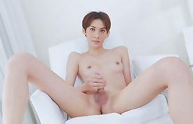 Petite asian shemale Jenny G masturbates her hard shecock
