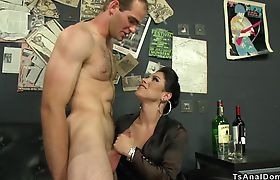 Shemale makes guy licking cum