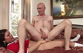 Hot tranny Carmen Moore fucks a bald guy in his anus