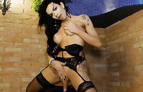 Lingerie Clad Transsexual Bianca Reis Masturbates by a Street Lamp