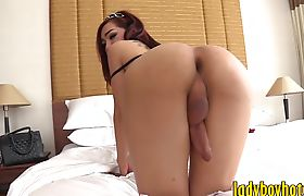 Lovely ladyboy gets her ass banged hard and deep in bed