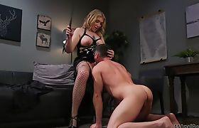 Busty shemale actress anal fucks creep
