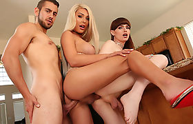 TBabe Chanel Santini and Natalie Mars three way anal