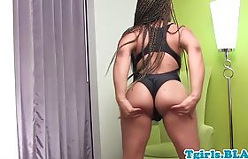 Bootylicious ebony shemale strokes her dong