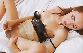 Asian shemale stunner Guess showing off and jerking her cock
