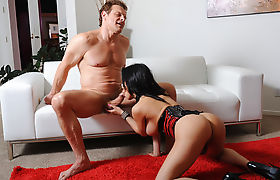 Busty horny asian shemale throats and analed by big cock