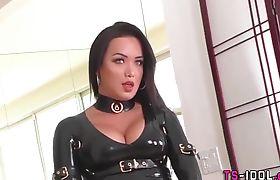 Rimmed tgirl in latex lingerie gets spermed