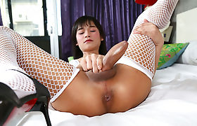 Lovely Tgirl Asian Pan A first solo scene masturbating in the bedroom