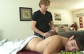 Horny tranny riding and sucking cock
