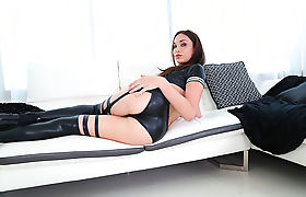Horny shemale Jonelle gets her ass penetrated by a hunk stud