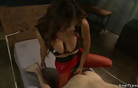 Interracial bdsm fucking with busty shemale