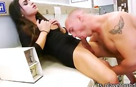 Stunning big boobs tgirl Madison Montag fucked in the laundry shop