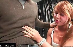 Cute tranny schoolgirl gets blowjob