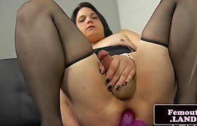 Chubby shemale fucks dildo deep