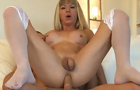 Busty blonde tgirl Franchezka analyzed in many positions