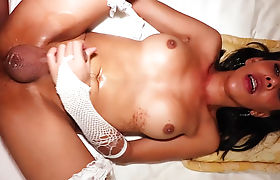 Big tits Asian shemale banged by a guy with white cock