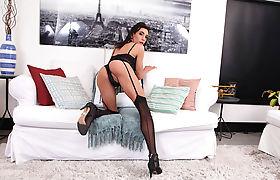 Pale and busty Latina Tgirl Paloma Magrinha stroking her huge shedick