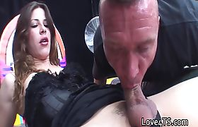 Guy sucks and rims hot shemale before being fucked