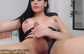 Trans Enjoys Stroking Her Cock