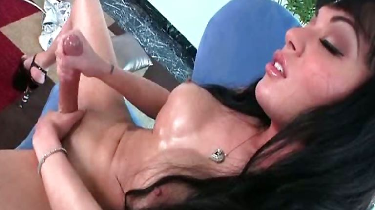 Mia Isabella jerks her big dick and cums