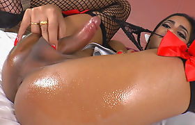 Asian Shemale Michelle Z Strokes Her Cock