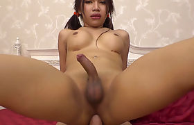 Teen ladyboy spends more time on cocks than chat apps
