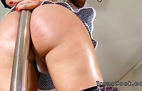 Hot blonde tranny stripper anal banged