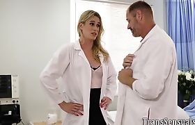 Trans doc in stockings fucked and jizzed