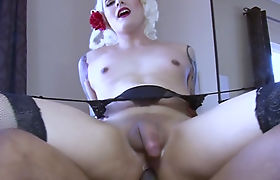 Tattooed blonde tranny ass fucked by huge black cock in bed