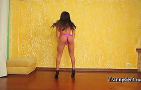 Brazilian tgirl beauty wanks cock solo