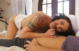 Hot Horny TS Domino Presley loves bedtime sex and cumshot
