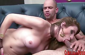Horny tgirl rides rod and gets cumshot