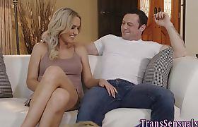 Passionate blonde ts cutie fucked