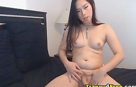 Gorgeous Hot Asian Tranny Eats her Cum