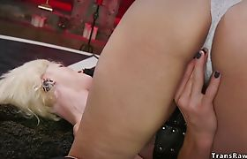 Busty student is fucked by shemale
