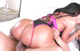 Busty Latina Shemale Bianca Reis fucks two lucky stud