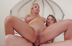 Busty milf Dana DeArmond licked and ass fucked by TS Casey Kisses