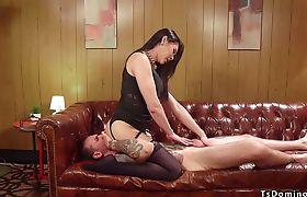 Tranny mistress anal fucks guy in motel