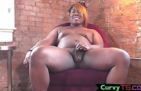 Thicc ebony tgirl plays with her butthole